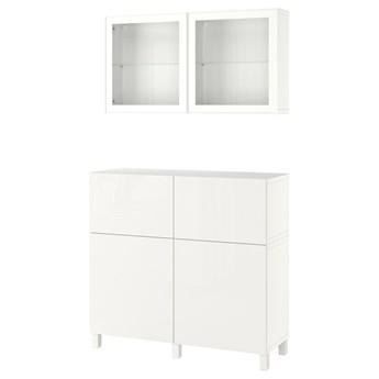 IKEA BESTÅ Kombinacja regałowa z drzw/szuf, Biały/Selsviken/Stubbarp wysoki połysk biały szkło bezbarwne, 120x42x213 cm