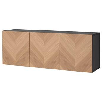 IKEA BESTÅ Kombinacja szafek ściennych, Czarnybrąz Hedeviken/okl dęb, 180x42x64 cm