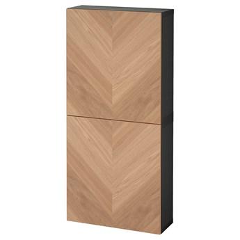 IKEA BESTÅ Szafka śc/2 drzwi, Czarnybrąz/Hedeviken okl dęb, 60x22x128 cm