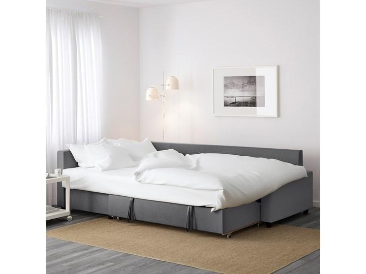 IKEA FRIHETEN Narożnik z funkcją spania, z dodatkowymi poduchami oparcia/Skiftebo ciemnoszary, Szerokość: 230 cm Lewostronne Nóżki Na nóżkach