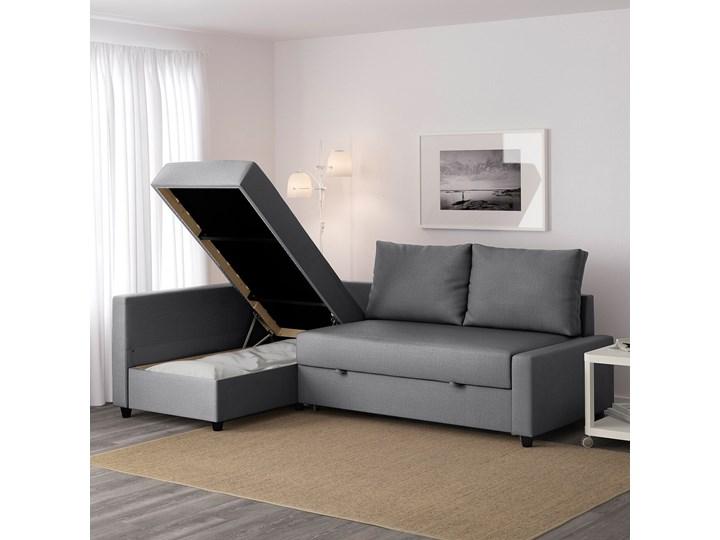 IKEA FRIHETEN Narożnik z funkcją spania, z dodatkowymi poduchami oparcia/Skiftebo ciemnoszary, Szerokość: 230 cm Liczba miejsc Dwuosobowy Lewostronne Nóżki Na nóżkach