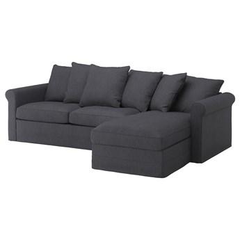 IKEA GRÖNLID Sofa 3-osobowa z szezlongiem, Sporda ciemnoszary, Wysokość łóżka: 53 cm