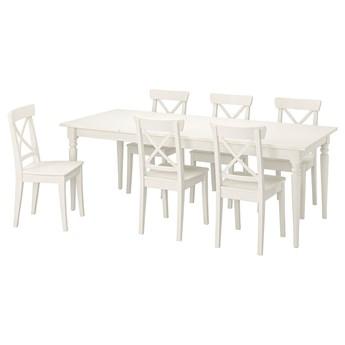 IKEA INGATORP / INGOLF Stół i 6 krzeseł, biały/biały, 155/215 cm