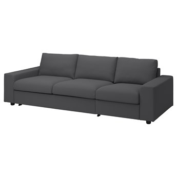 IKEA VIMLE Rozkładana sofa 3-osobowa, z szerokimi podłokietnikami/Hallarp szary, Wysokość łóżka: 53 cm