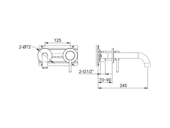 Kohlman Axel bateria umywalkowa podtynkowa wylewka 24,5 cm QW180A Bateria ścienna Kategoria Baterie łazienkowe