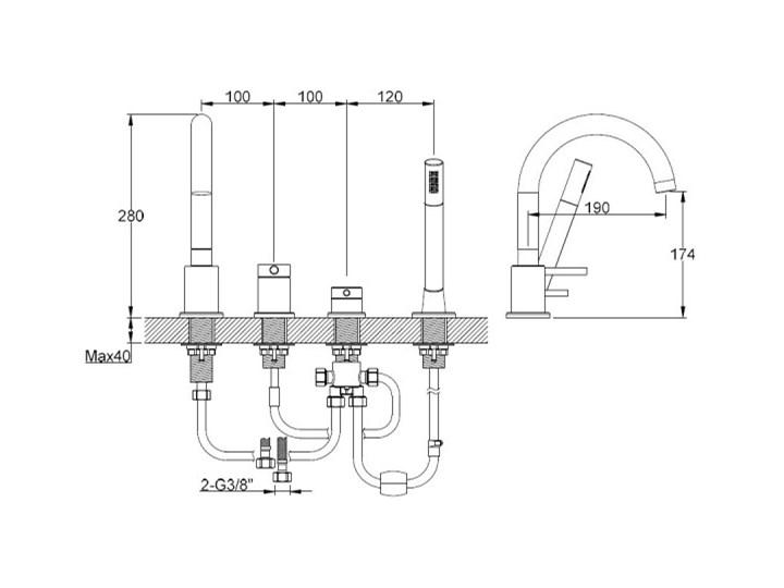 Kohlman Axel bateria wannowa 4-otworowa QB244A Kategoria Baterie łazienkowe