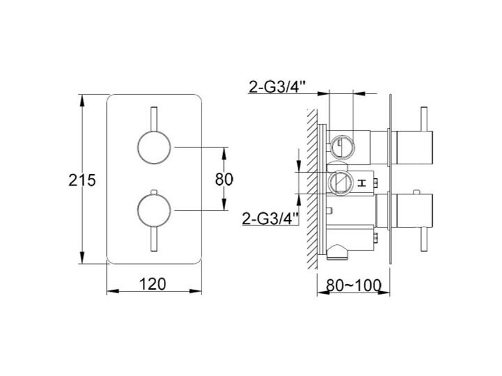 Kohlman Axel bateria wannowo-prysznicowa termostatyczna podtynkowa QW432A Bateria wannowa Bateria ścienna Bateria prysznicowa Kategoria Baterie łazienkowe
