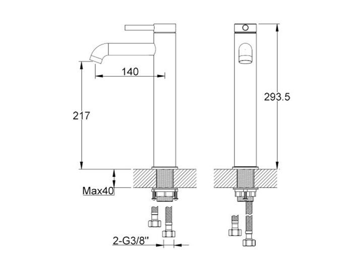 Kohlman Axel Black bateria umywalkowa wysoka czarny mat QB170AB Bateria stojąca Kategoria Baterie łazienkowe