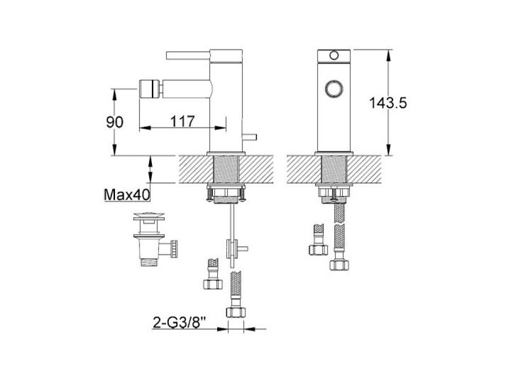 Kohlman Axel Black bateria bidetowa czarny mat QB130AB Bateria stojąca Kategoria Baterie łazienkowe