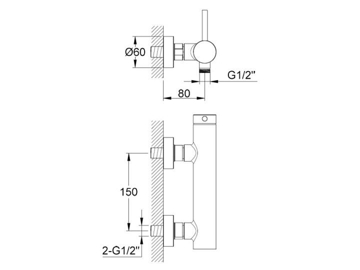 Kohlman Axel Black bateria prysznicowa ścienna czarny mat QW120AB Bateria ścienna Kategoria Baterie łazienkowe
