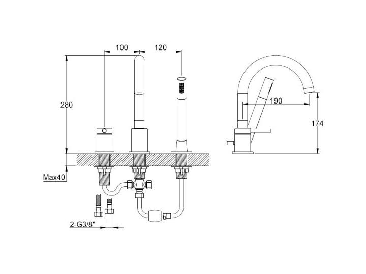 Kohlman Axel Black bateria wannowa 3-otworowa czarny mat QB241AB Kategoria Baterie łazienkowe