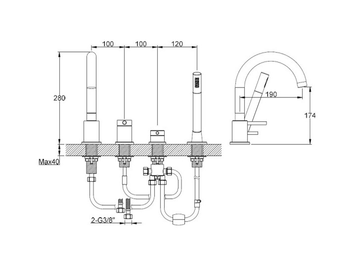Kohlman Axel Black bateria wannowa 4-otworowa czarny mat QB244AB Kategoria Baterie łazienkowe