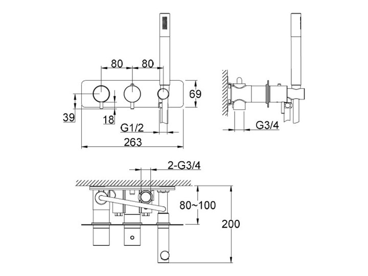 Kohlman Axel Black bateria wannowa termostatyczna podtynkowa czarny mat QW265AB Bateria ścienna Kategoria Baterie łazienkowe