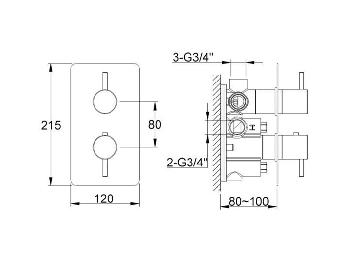 Kohlman Axel Black bateria wannowo-prysznicowa termostatyczna podtynkowa 3 wyjścia czarny mat QW433AB Bateria prysznicowa Bateria wannowa Bateria ścienna Kategoria Baterie łazienkowe