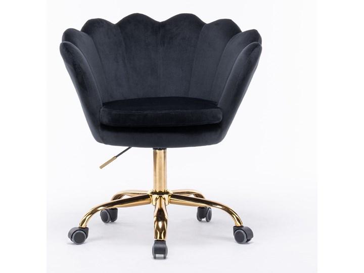 Fotel obrotowy muszelka Glamour SC-ZT8255 czarny welur Fotel muszelka Tkanina Fotel pikowany Metal Kategoria Fotele do salonu