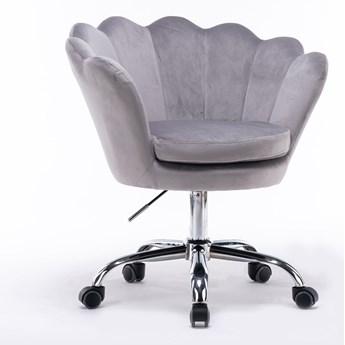 Fotel obrotowy muszelka Glamour SC-ZT8255 szary welur
