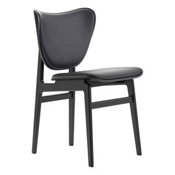 Czarne krzesło tapicerowane skórzane Elephant - drewno dębowe Black skóra Antracyt NORR11