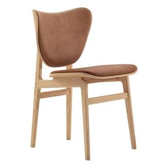 Krzesło tapicerowane skórzane Elephant - drewno dębowe Nature skóra Rust NORR11