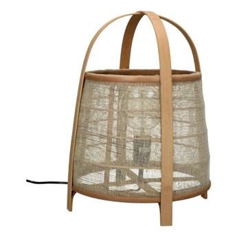Designerska lampa stołowa Mien Compact z lnu i bambusa POMAX