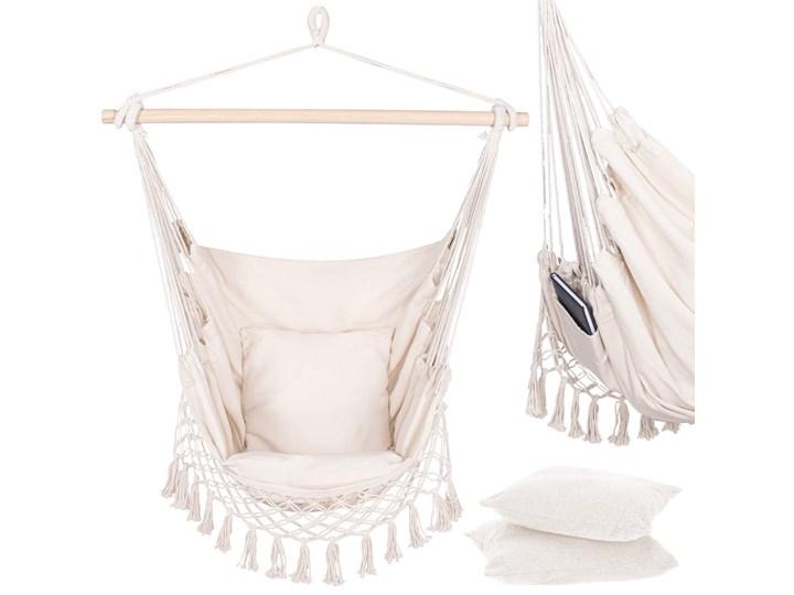 Hamak brazylijski z poduszkami 130x100cm fotel wiszący z frędzlami kremowy Bawełna Poliester Kolor Beżowy Kategoria Hamaki