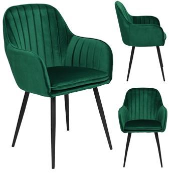 Krzesło aksamitne Sevilla velvet ciemnozielone