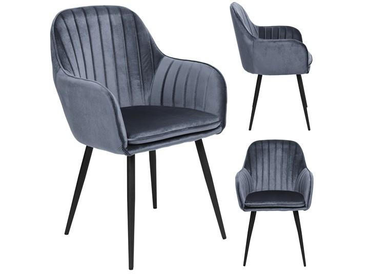 Krzesło aksamitne Sevilla velvet grafitowe Welur Tworzywo sztuczne Skóra Tapicerowane Krzesło inspirowane Szerokość 55 cm Styl Nowoczesny Tkanina Wysokość 86 cm Metal Głębokość 56 cm Kolor Szary