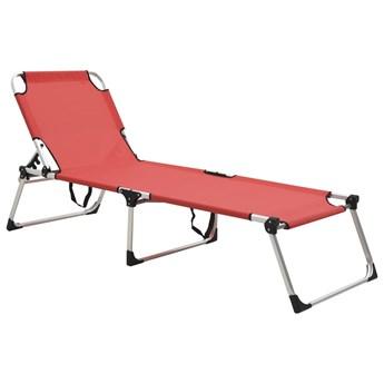 Wysoki leżak dla seniora, składany, czerwony, aluminiowy