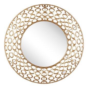 Lustro ścienne wiszące okrągłe złote ø 80 cm dekoracja ścienna styl eklektyczny salon