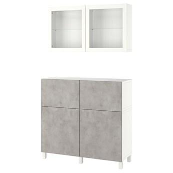 IKEA BESTÅ Kombinacja regałowa z drzw/szuf, Biały Kallviken/Stubbarp/jasnoszary imitacja betonu, 120x42x213 cm