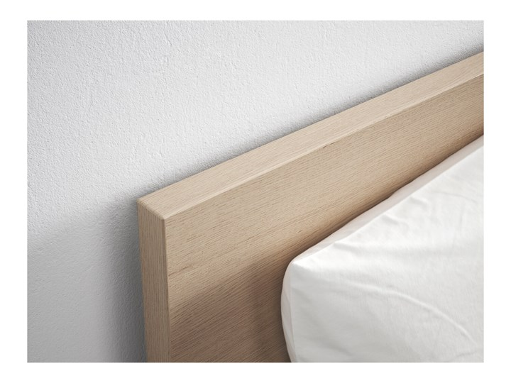 IKEA MALM Rama łóżka z 2 pojemnikami, Okleina dębowa bejcowana na biało, 180x200 cm Łóżko drewniane Drewno Kolor Biały