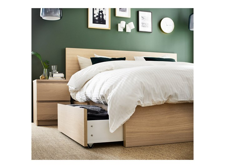 IKEA MALM Rama łóżka z 2 pojemnikami, Okleina dębowa bejcowana na biało, 180x200 cm Łóżko drewniane Kolor Beżowy Drewno Kolor Biały