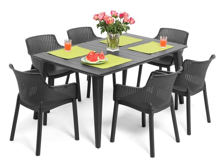Meble ogrodowe 6-osobowe EVA+LIMA - grafitowe Zawartość zestawu Krzesła Stoły z krzesłami Kolor Szary