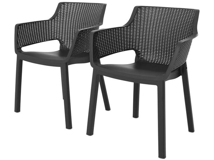 Meble ogrodowe 6-osobowe EVA+LIMA - grafitowe Stoły z krzesłami Kolor Szary