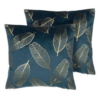 Zestaw 2 poduszek dekoracyjnych niebieski welurowy złoty nadruk liście 45 x 45 cm z wypełnieniem ozdobny