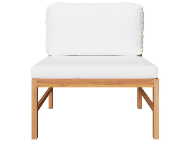 vidaXL 3-cz. zestaw wypoczynkowy do ogrodu, kremowe poduszki, tekowy Drewno Zestawy wypoczynkowe Kolor Beżowy Zawartość zestawu Puf