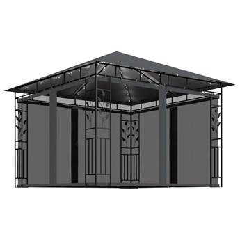 vidaXL Altana z moskitierą i sznurem lampek, 3x3x2,73 m, antracytowa