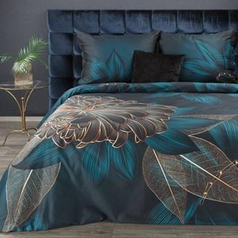 Pościel 220x200 makosatyna bawełniana turkusowa bezowa kwiaty, premium bawełna hiszpańska