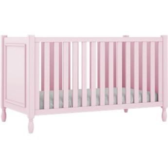 Różowe eleganckie łóżeczko dziecięce z ozdobnymi nóżkami