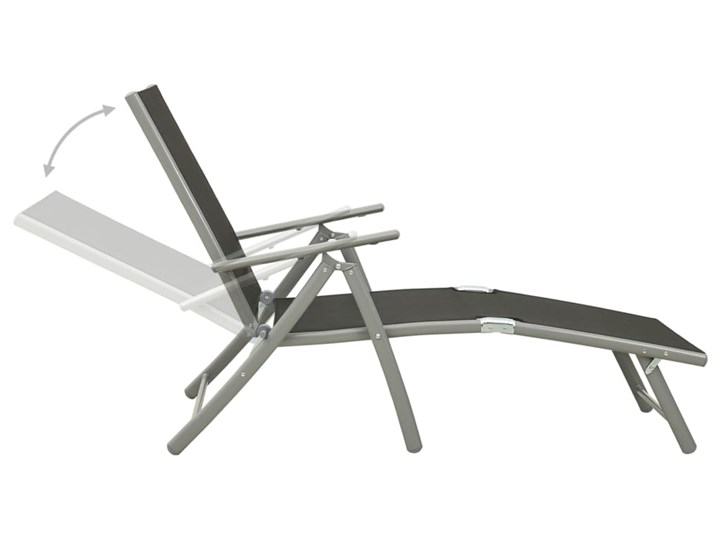vidaXL Składany leżak, tworzywo textilene i aluminium, czarno-srebrny