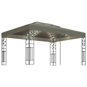 vidaXL Altana z podwójnym dachem i sznurem lampek, 3x4 m, taupe