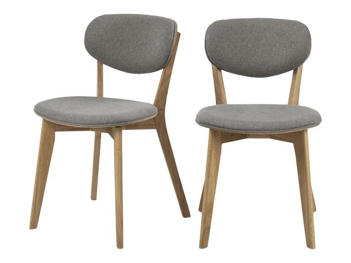 SELSEY Zestaw dwóch krzeseł drewnianych Alitas jasnoszare Tkanina Drewno Tapicerowane Kategoria Krzesła kuchenne Styl Klasyczny