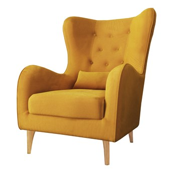 SELSEY Fotel uszak Calmino Duży żółty velvet