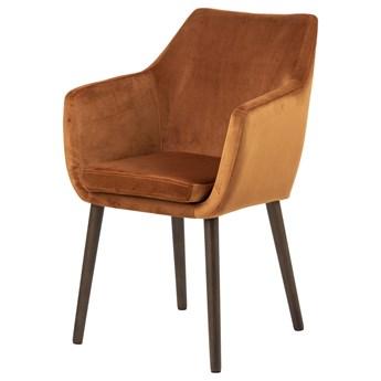 SELSEY Krzesło tapicerowane z podłokietnikami Marcelio miedziany welur