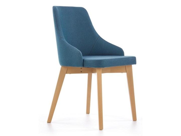 SELSEY Krzesło tapicerowane Berlas niebieskie - dąb miodowy Tkanina Drewno Kategoria Krzesła kuchenne