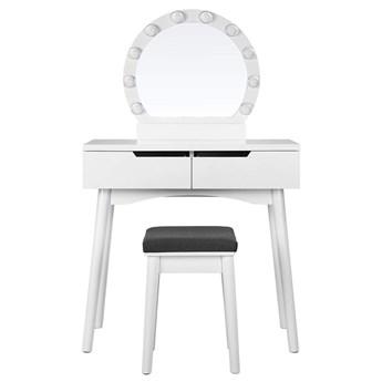 SELSEY Toaletka Gaga biała z okragłym lustrem i stołkiem z oświetleniem