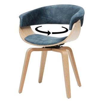 SELSEY Krzesło tapicerowane Asarlo niebieski welur na klonowych nogach