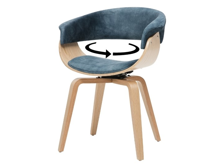 SELSEY Krzesło tapicerowane Asarlo niebieski welur na klonowych nogach Płyta MDF Tkanina Drewno Pomieszczenie Jadalnia