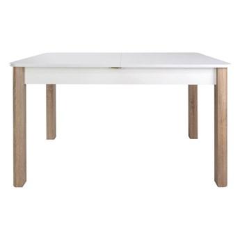 SELSEY Stół rozkładany Eagor 125-165x80 cm zaokrąglonymi rogami biel alpejska - dąb sonoma