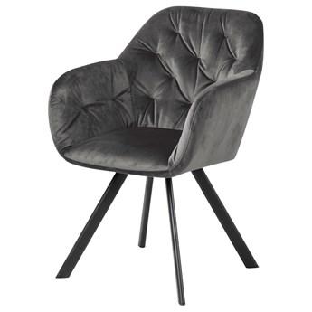 SELSEY Krzesło tapicerowane Elestren ciemnoszary welur