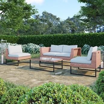 SELSEY Zestaw ogrodowy Darkone sofa z dwoma fotelami i stolik